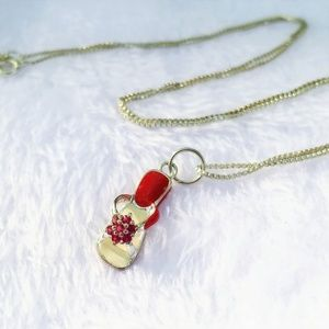 Jewelry - SS Vintage Enamel & Ruby Flip-Flop Charm Necklace